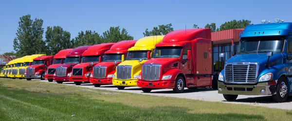 Colorful Trucks Without Drivers
