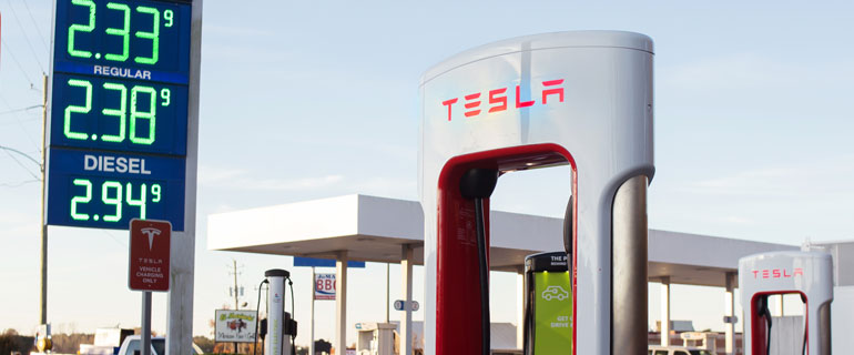 Tesla Electric Vehicle Charger at a C-Store