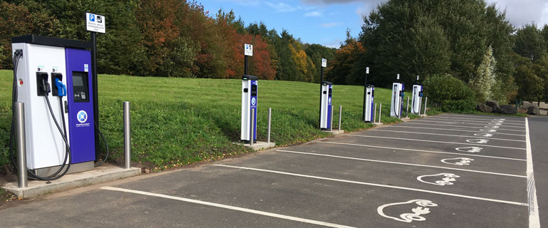 Empty Electric Vehicle Charging Stations